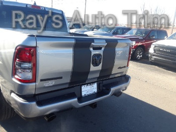 rear angle of gray 2019 Dodge Ram 1500 Racing Stripes RAM RALLY 2019 2020 2021
