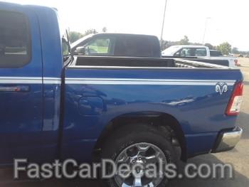 side of blue 2019 Dodge Ram 1500 Graphics RAM EDGE SIDE KIT 2019 2020 2021