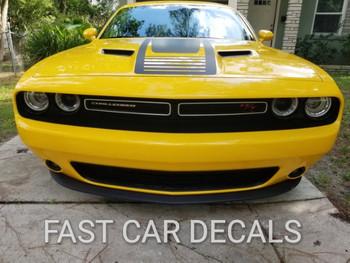 front of yellow Dodge Challenger Custom Hood Decals CUDA STROBE 2008-2018 2019