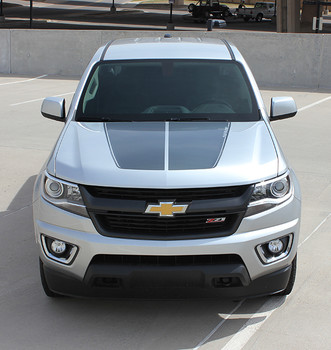 front of silver Chevy Colorado Hood Graphics SUMMIT HOOD 2015-2020