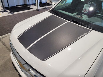 side angle of white NEW! 2020 Chevy Colorado Hood Stripes SUMMIT 2015-2021