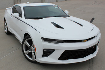 front angle of white 2017 Chevy Camaro Upper Body Stripes PIKE 2016 2017 2018