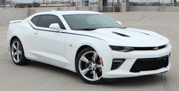 side of white 2017 Chevy Camaro Upper Body Stripes PIKE 2016 2017 2018