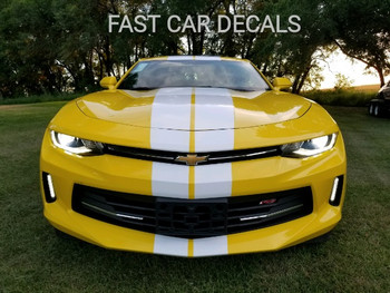 front of yellow Chevy Camaro Racing Rally Stripes TURBO RALLY 2016 2017 2018