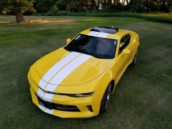 front angle of yellow Chevy Camaro Racing Rally Stripes TURBO RALLY 2016 2017 2018