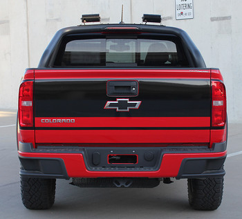 rear of red Chevy Colorado Tailgate Decals GRAND TAILGATE 2015-2018 2019