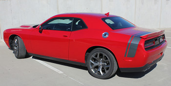 rear angle of 2017 Dodge Challenger Scat Pack Stripes TAIL BAND 2015-2021