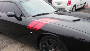 close up of black Dodge Challenger Hash Marks Decals DOUBLE BAR 2008-2020