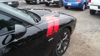 side of black Dodge Challenger Hash Marks Decals DOUBLE BAR 2008-2021