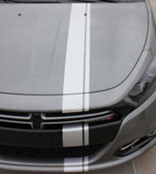 hood close up Dodge Dart Euro Stripes DARTING E RALLY 3M 2013 2014 2015 2016