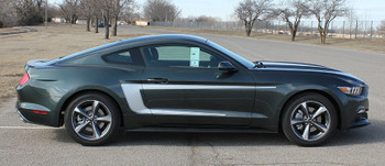 side of 2015 Ford Mustang with Racing Stripes REVERSE 2015-2017