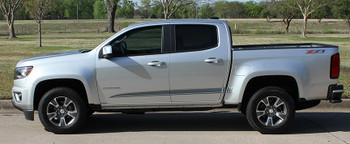 profile of silver 2017 Chevy Colorado Side Graphics RATON 2015-2021