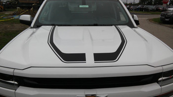 hood of white 2018 Chevy Silverado Special Edition Stripes FLOW 2016 2017 2018
