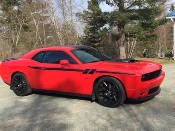 side of red FAST! Shaker, RT, Hemi Dodge Challenger Stripes FURY 2011-2021