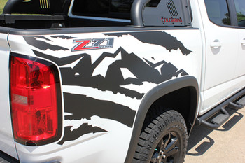 side of white Chevy Colorado Bed Vinyl Graphics ANTERO 2015-2021