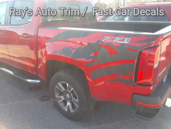 rear of red Chevy Colorado Bed Vinyl Graphics ANTERO 2015 2016 2017 2018 2019 2020