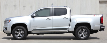 side of silver GMC Canyon Side Door Stripes RAMPART 2015-2021