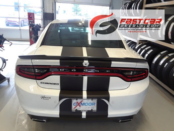 rear of white 2017 Dodge Charger Rally Stripes N CHARGE 15 2015-2018 2019
