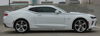 side of white 2018 Chevy Camaro Upper Stripes PIKE SIDE KIT 2016 2017 2018