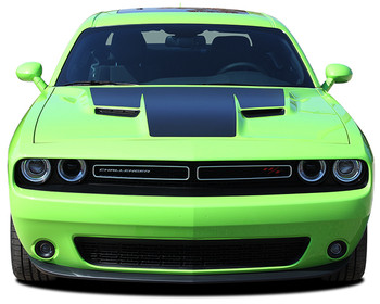 front of green 2018 Dodge Challenger RT Hood Stripes CHALLENGE HOOD 2015-2020