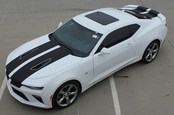 front angle of white 2017 Chevy Camaro SS Stripes CAM SPORT RS SS 2016 2017 2018