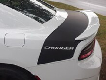 rear of white 2020 Dodge Charger Rear Stripes TAILBAND 2015-2021