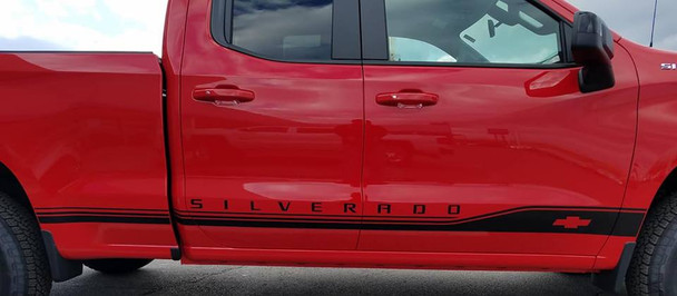 close up of red 2019 Silverado Graphics SILVERADO ROCKER 1 2019 2020