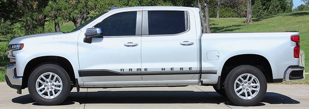 side of silver 2019 Silverado Graphics SILVERADO ROCKER 1 2019 2020