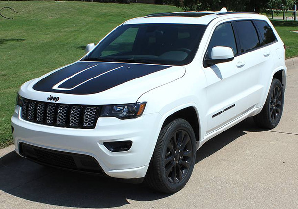 front angle of BEST! 2011-2019 Grand Cherokee Hood Graphics TRAIL HOOD