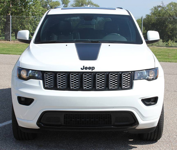 front of white Grand Cherokee Center Hood Decal PATHWAY HOOD 2011-2020