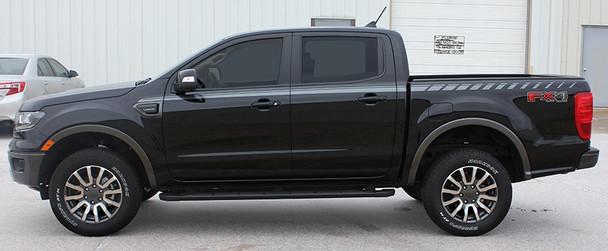 side of black 2019 Ford Ranger Stripes UPROAR SIDE KIT Graphics 2019-2020