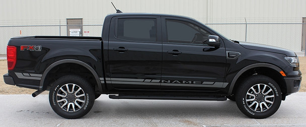side of black 2019 Ford Ranger Side Stripes RAPID ROCKER DECALS 2019-2020