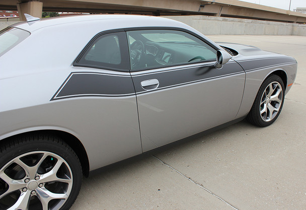 side of silver 2019 Dodge Challenger T/A Side Graphics PURSUIT 2011-2020 2021