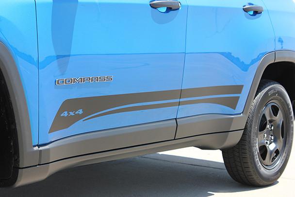 side of blue Jeep Compass Rocker Decal Stripes COURSE ROCKER Decals 2017 2018 2019 2020