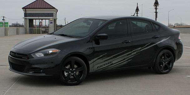 side of black Dodge Dart Side Door Stripes RIPPED DART 2013 2014 2015 2016
