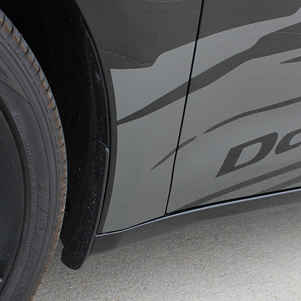 close up of Dodge Dart Side Door Stripes RIPPED DART 2013 2014 2015 2016