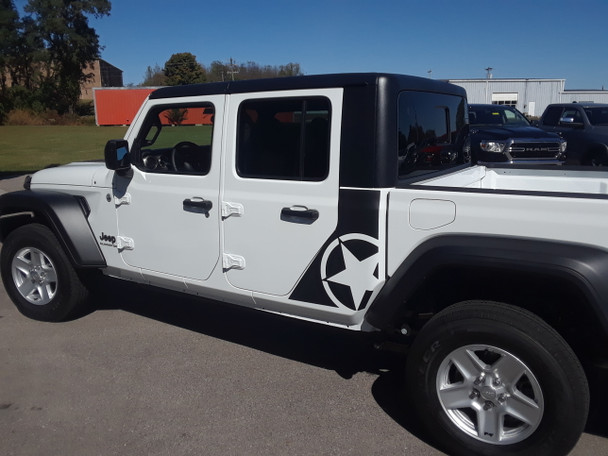 side of white OMEGA SIDES : Jeep Gladiator Side Door Star Decals Stripe 2020-2021