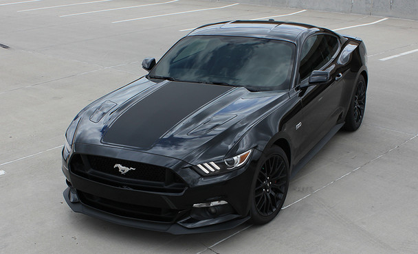front angle of 2015 Ford Mustang Hood Stripes MEGA HOOD 2015 2016 2017
