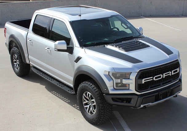 front angle of 2020 F150 Raptor Hood Decals VELOCITOR HOOD 2018-2021
