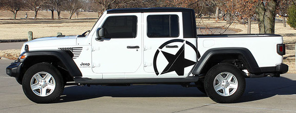 side of New! Jeep Gladiator Side STAR Stripes 2020-2021 ALPHA STAR SIDE