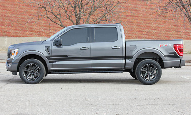 side of gray 2021 Ford F150 Truck Side Stripes SWAY XL SIDE KIT 2021+