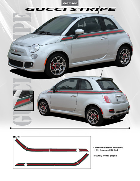 GUCCI | Fiat 500 Graphic Stickers Decals 2012-2018 Digital Print