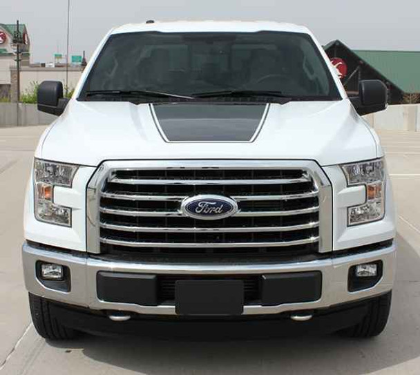 view of hood 15 FORCE HOOD | Hood Stripe for Ford F150 2015-2017 2018 2019