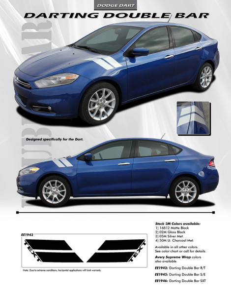flyer for Dodge Dart Fender Stripe DOUBLE BAR 3M 2013 2014 2015 2016