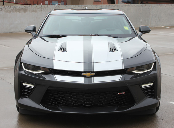 front view of Racing Stripes for Chevy Camaro CAM SPORT PIN 2016 2017 2018