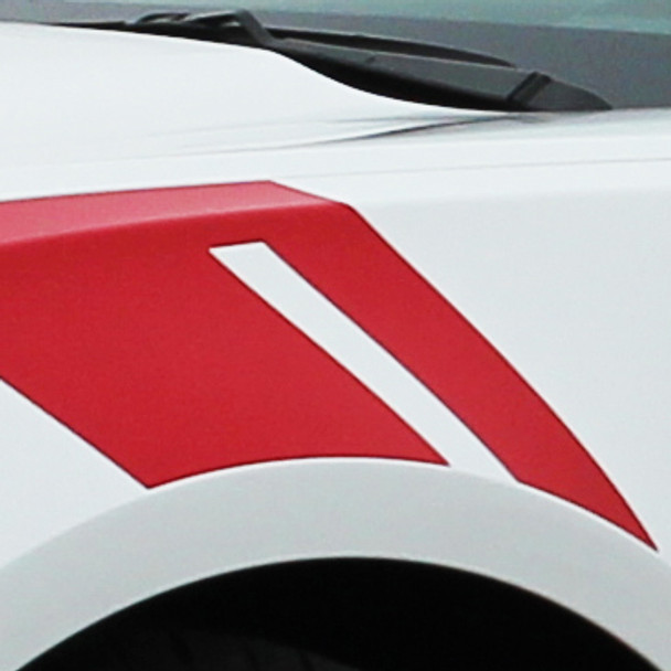 close up of white 2016 Chevy Camaro Fender Decals HASH MARKS 2016 2017 2018