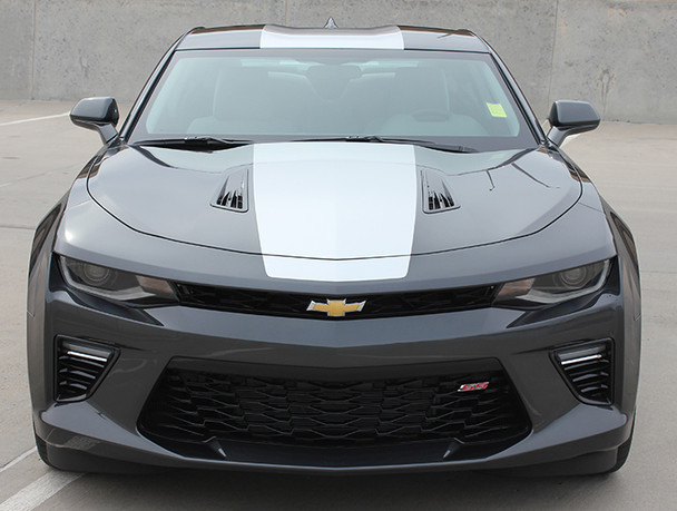 front of black 2018 Chevy Camaro Wide Stripes OVERDRIVE SS RS 2016 2017 2018