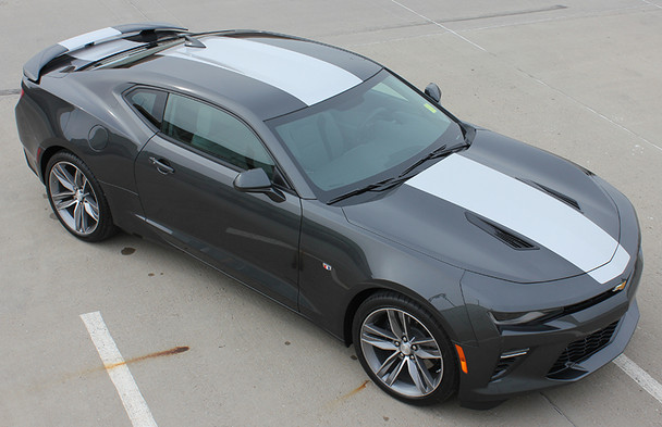 front angle of black 2017 Chevy Camaro Wide Center Stripes OVERDRIVE 2016 2017 2018