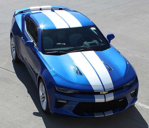 front angle of 2018 Chevy Camaro Duel Stripes TURBO RALLY 2016 2017 2018
