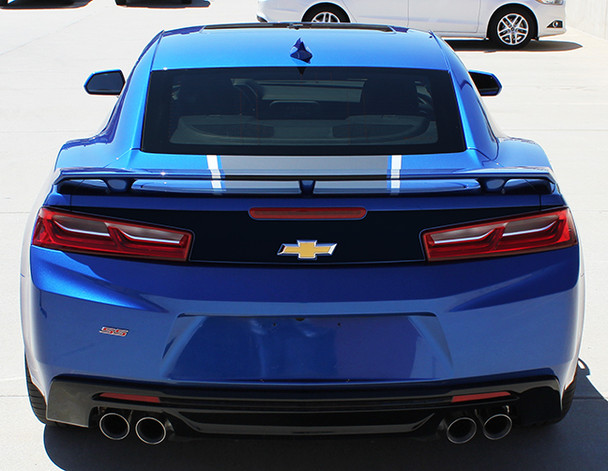 rear of blue 2018 Chevy Camaro Factory Style Stripes HERITAGE 2016-2018
